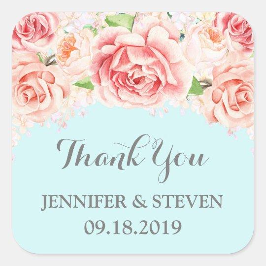 Blue Pink Watercolor Flowers Wedding Label