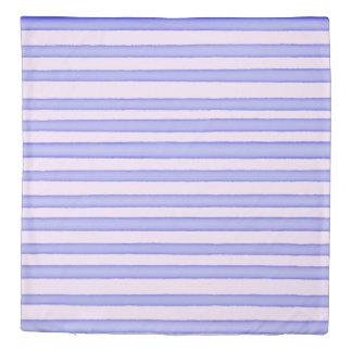 Blue pink watercolor stripes design duvet cover