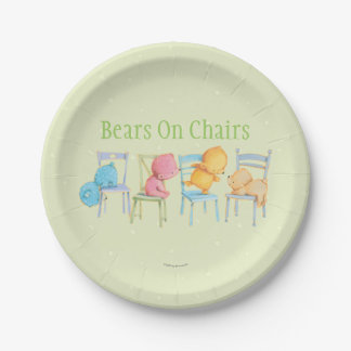 Blue, Pink, Yellow, and Brown Bears Play 7 Inch Paper Plate