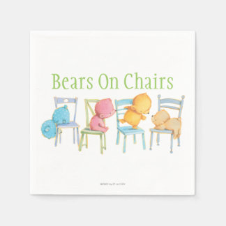 Blue, Pink, Yellow, and Brown Bears Play Paper Napkin