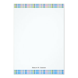 "Blue Pink Yellow Wht Preppy Madras 5"" X 7"" Invitation Card"