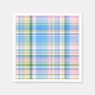 Blue Pink Yellow Wht Preppy Madras Disposable Napkins