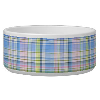 Blue Pink Yellow Wht Preppy Madras Dog Food Bowls