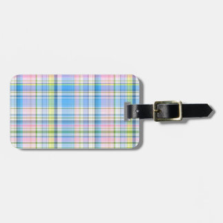 Blue Pink Yellow Wht Preppy Madras Luggage Tag