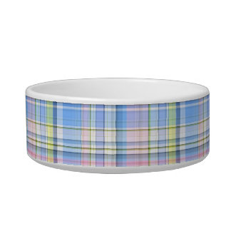 Blue Pink Yellow Wht Preppy Madras Pet Water Bowls