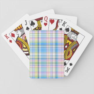 Blue Pink Yellow Wht Preppy Madras Poker Deck