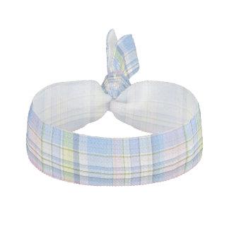 Blue Pink Yellow Wht Preppy Madras Ribbon Hair Tie