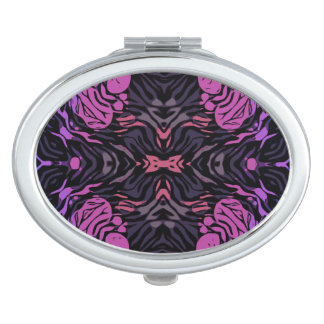 Blue Pink Zebra Compact Mirror