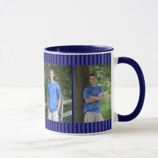 Blue Pinstripe Family Photo Memory Frame Mug