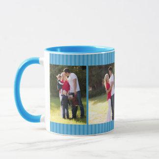 Blue Pinstripe Quad Photo Memory Frame Mug