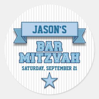 Blue Pinstripe Sport Tackle Twill Bar Mitzvah RSVP Round Sticker
