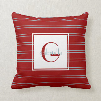 Blue Pinstripes on Red; Initial & Name, Customized Throw Pillow