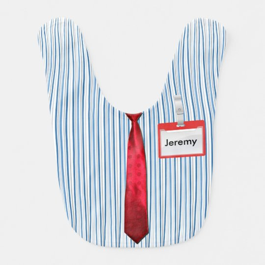Blue Pinstripes, Red Power Tie & Personalized Name Bibs