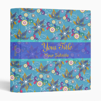 Blue Pinwheel Flowers Binder