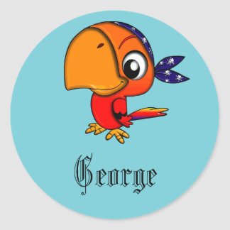 Blue pirate parrot personalised classic round sticker