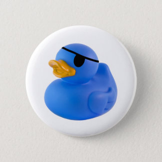 Blue pirate rubber duck button