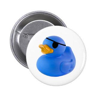 Blue pirate rubber duck button