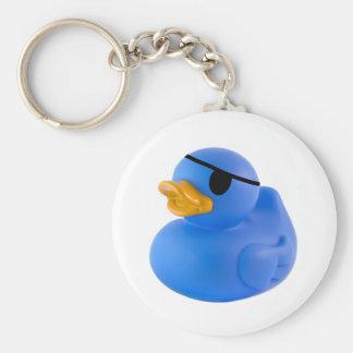 Blue pirate rubber duck keychain