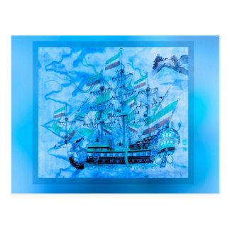 Blue Pirate Ship Nautical Ocean Waves Postcard
