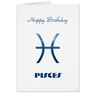 Blue Pisces Zodiac Sign Card