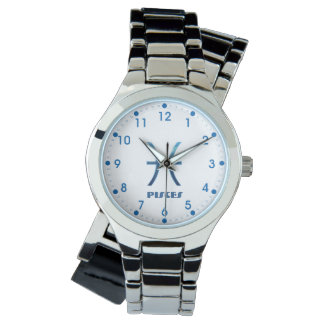 Blue Pisces Zodiac Sign On White Watch