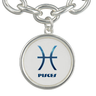 Blue Pisces Zodiac Signs On White Bracelets