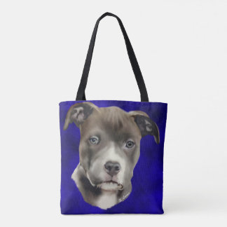 Blue Pitbull Puppy Dog Portrait Print Tote Bag