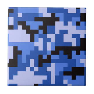 Blue Pixel Army Camo pattern Tile