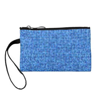 Blue pixel mosaic coin wallet