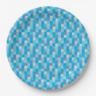 Blue Pixelated Pattern 9 Inch Paper Plate