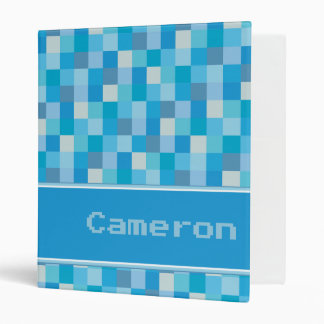 Blue Pixelated Pattern Personalized 3 Ring Binders