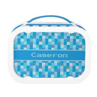 Blue Pixelated Pattern | Personalized Lunchbox