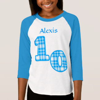 Blue Plaid 10th Birthday Custom Name 2 T-Shirt