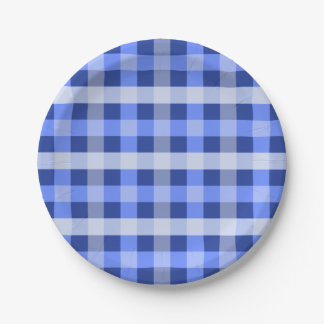 Blue Plaid 7 Inch Paper Plate