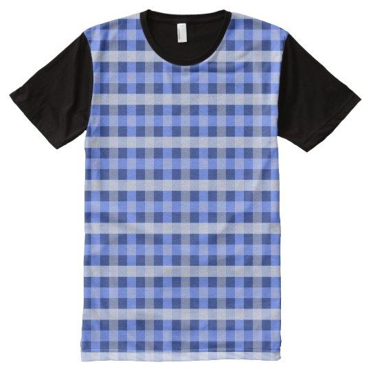 Blue Plaid All-Over-Print T-Shirt