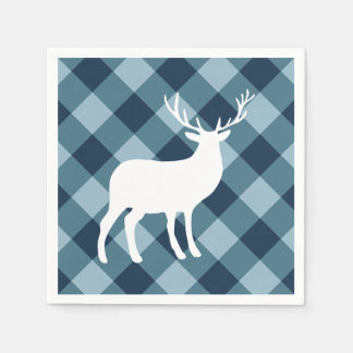 Blue Plaid and White Stag | Holiday Disposable Napkins