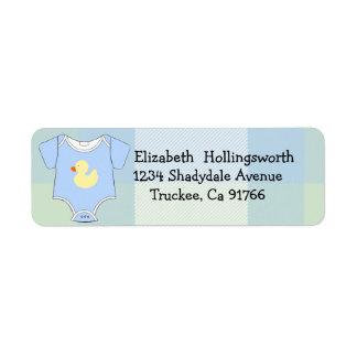 Blue Plaid-Baby Shower Return Address Label