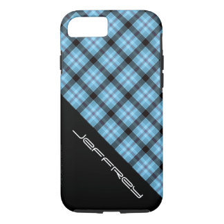 Blue Plaid/Black for iPhone 7 Personalized iPhone 7 Case