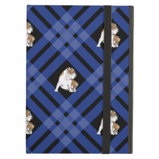 Blue Plaid Bulldog iPad Air Cover