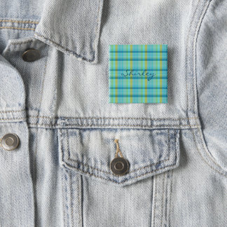 Blue Plaid by Shirley Taylor 2 Inch Square Button