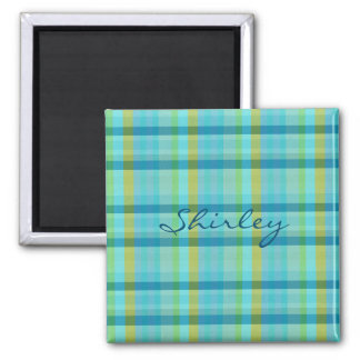 Blue Plaid by Shirley Taylor Magnet