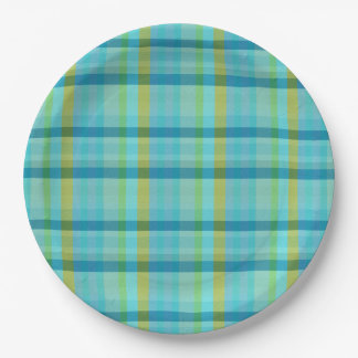 Blue Plaid by Shirley Taylor Paper Plate