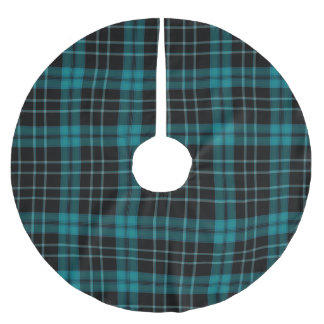 Blue Plaid christmas Brushed Polyester Tree Skirt