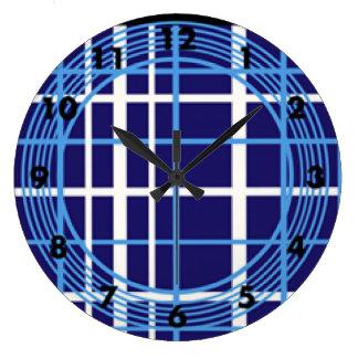 Blue Plaid Circles Design Large Clock