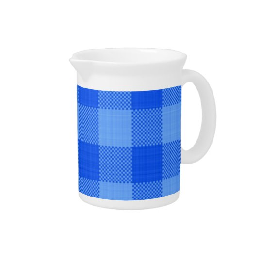 Blue plaid fabric print pitcher