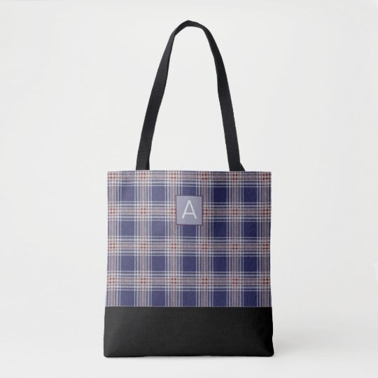 Blue Plaid Monogram Tote Bag