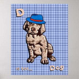 Blue Plaid Nursery Art - Dog - Personalize Poster