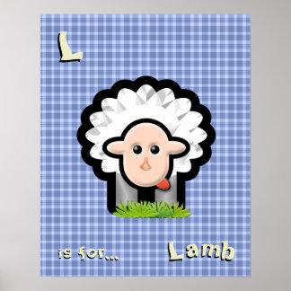 Blue Plaid Nursery Art - Lamb - Personalize Poster