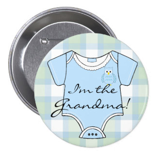 Blue Plaid Owl Baby Shower Grandma 3 Inch Round Button