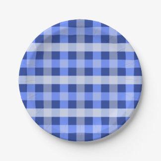 Blue Plaid Paper Plate
